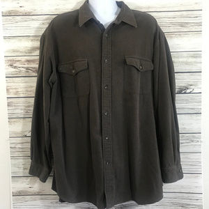 Mens Brown Long Sleeve Button Front Casual Shirt